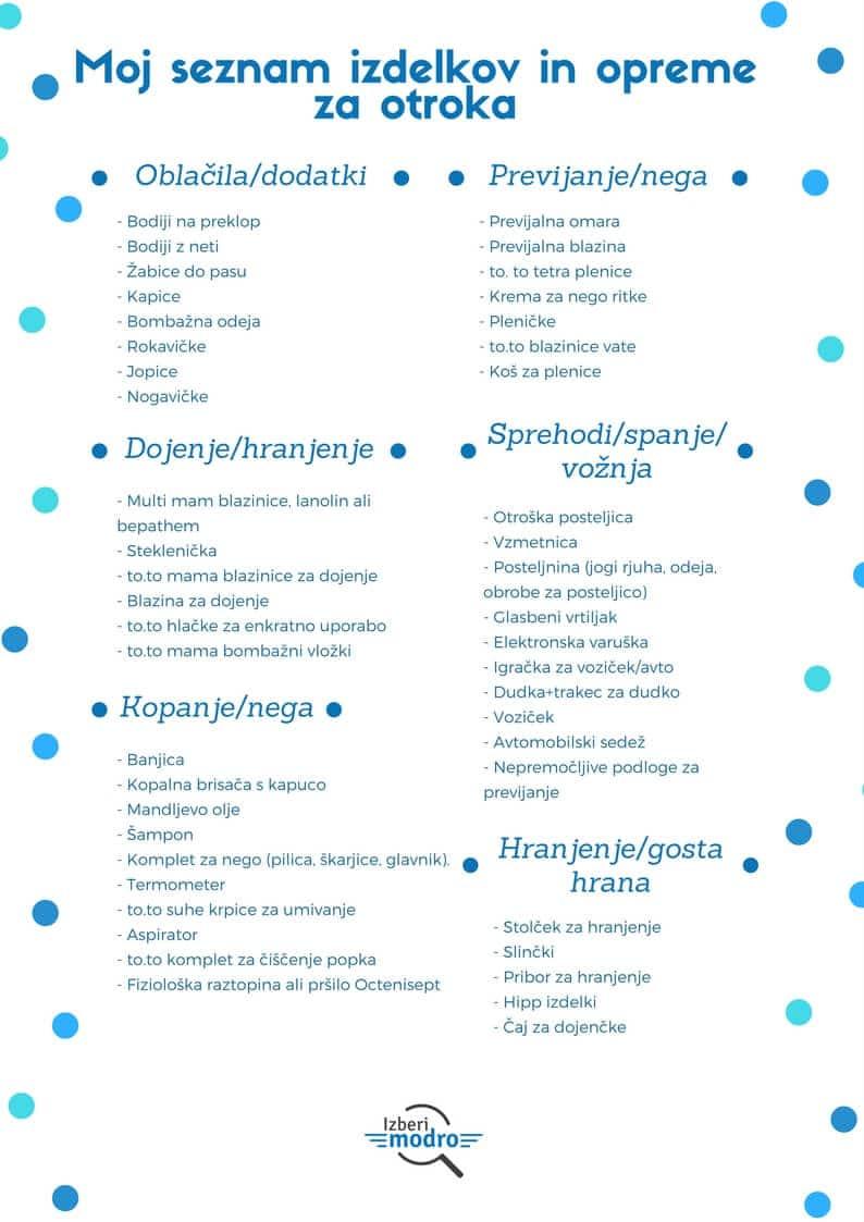 Moj seznam izdelkov in opreme za otroka - Izberi modro
